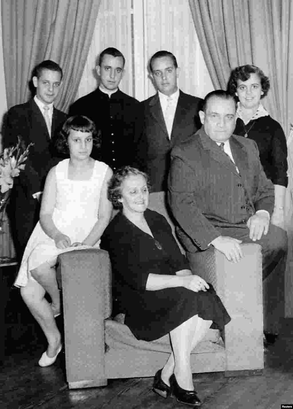 Jorge Bergoglio and his family are seen in this undated handout photo provided by Clarin.