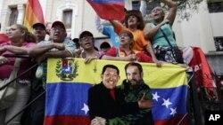Supporters of Venezuela's President Hugo Chavez in Caracas, Venezuela, Jan. 5, 2013