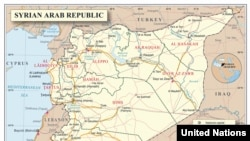 UN map of Syria showing routes into Jordan