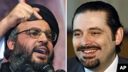 This combo shows portraits of Lebanese PM Saad Hariri (R) at his office in Beirut and Hezbollah leader Hassan Nasrallah (File)
