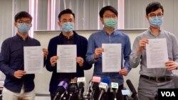 香港民間團體代表(左起)黃之鋒、梁晃維、張崑陽、劉穎匡3月10日召開聯合記者會,發表致美國國務卿蓬佩奧的聯署公開信。(美國之音湯惠芸攝)