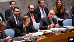 Tổng thư ký Liên hiệp quốc Ban Ki-moon trong một phiên họp tại trụ sở Liên hiệp quốc, 20/1/14