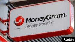 ສັນຍາລັກ ບໍລິສັດ MoneyGram ທີ່ເຫັນຢູ່ນອກທະນາຄານ Vienna ປະເທດ Austria.