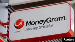 Logo MoneyGram di luar sebuah bank di Wina, Austria, 28 Juni 2016.