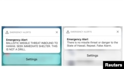 A combination photograph shows screenshots from a cell phone displaying an alert for a ballistic missile launch and the subsequent false alarm message in Hawaii Jan. 13, 2018.