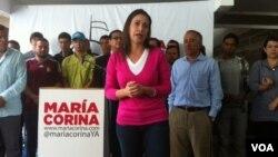 María Corina Machado convocó a una conferencia de prensa tras ser acusada de conspirar contra la vida de Nicolás Maduro.