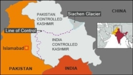 Map showing India and Pakistan controlled Kashmir and the Line of Control
