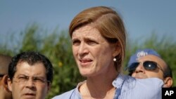 U.S. Ambassador to the United Nations Samantha Power speaks to reporters in Juba, South Sudan, Sept. 3, 2016.