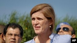 "U.S. Ambassador to the United Nations Samantha Power speaks to reporters in Juba, South Sudan, Sept. 3, 2016. Power said visiting U.N. envoys were able to see ""the human consequences of the failure of political leaders to bring peace back to their country."""