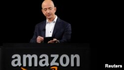 Amazon founder Jeffrey Bezos is seen at a product demonstration in Santa Monica, California, in this September 6, 2012, file photo.