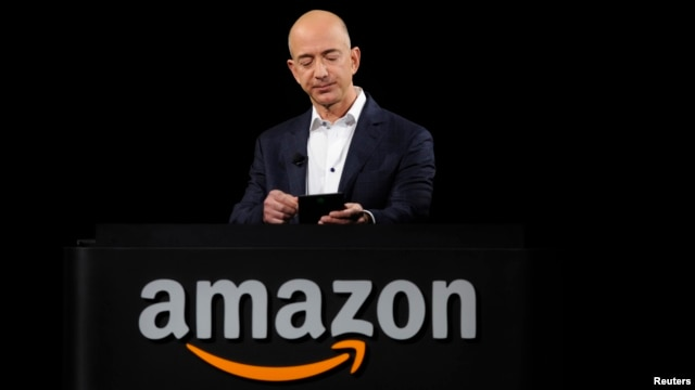 Amazon founder Jeff Bezos is seen at a product demonstration in Santa Monica, California, Sept. 2012.