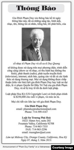 Thông báo ngày 7/3/2013 về tác quyền của nhạc Phạm Duy và ca sĩ Duy Quang do văn phòng luật sư Trương Phú Hòa phổ biến (tài liệu của gia đình Phạm Duy)