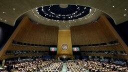 Presidente de Guatemala, Alejandro Giammattei, interviene en la Asamblea General de la ONU, en Nueva York, el 22 de septiembre de 2022.