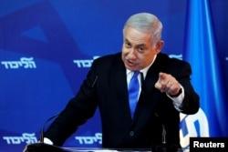 FILE - Israel's Prime Minister Benjamin Netanyahu gestures as he speaks during a news conference in Jerusalem, April 1, 2019.