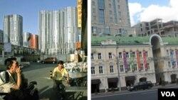 左图北京街景。右图莫斯科市中心的一个商店