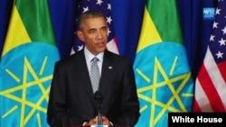 美國總統奧巴馬在埃塞俄比亞訪問期間