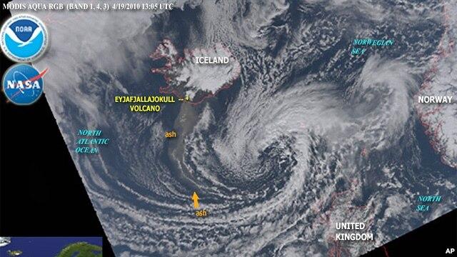Volcanic cloud extending over Europe, 19 Apr 2010