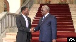 Presidente de São Tomé e Príncipe, Pinto da Costa, recebe Teodoro Obiang, da Guiné-Equatorial