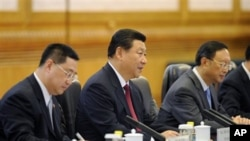 တ႐ုတ္သမၼတ Xi Jinping (လယ္)၊ ျမန္မာသမၼတ ဦးသိန္းစိန္ (ယာ)တို႔အား Great Hall မွာ ေတြ႔ရစဥ္။ (ဂၽြန္ ၂၈၊ ၂၀၁၄)