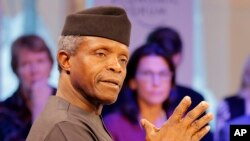 FILE - Yemi Osinbajo, the leader of Nigeria while President Muhammadu Buhari is on medical leave, speaks at the World Economic Forum in Davos, Switzerland, Jan. 17, 2017.