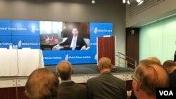 台灣外交部長吳釗燮2019年9月11日對美國智庫全球台灣研究中心發表預錄視訊講話(美國之音鍾辰芳拍攝)