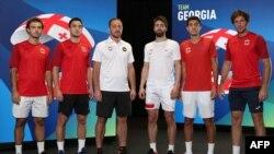 საქართველო ATP Cup-ზე: მარცნიდან - ალექსანდრე ბაკში, სანდრო მეტრეველი, კაპიტანი დავით კვერნაძე, ნიკა ბასილაშვილი, ზურაბ ტყემალაძე, გიორგი ცივაძე