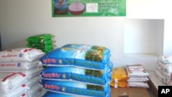 Cambodian rice bags at a store in Long Beach, California in May 2011.