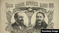 Bích chương cổ động bầu cho James Garfield (phải) làm tổng thống và Chester Arthur làm phó. (Nguồn: Thư viện Quốc hội Hoa Kỳ)