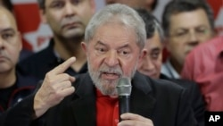 FILE - Former Brazilian President Luiz Inacio Lula da Silva delivers a brief speech to the media and supporters at the headquarters of the Worker's Party in Sao Paulo, Brazil, July 13, 2017.