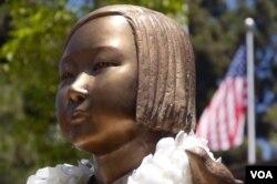 格伦代尔市的慰安妇塑像头部(美国之音国符拍摄)