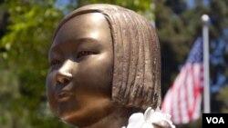 格倫代爾市的慰安婦塑像頭部(美國之音國符拍攝)