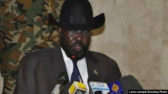 South Sudanese President Salva Kiir, shown delivering a speech to open a new session of parliament on Tuesday, April 23, 2013 in Juba, announced on television that he was firing the environment minister.