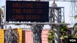 欢迎来到加州长滩港的公路标志。(资料照)