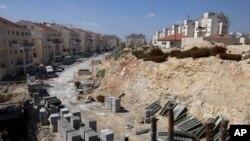Công trường xây dựng ở khu định cư của người Do Thái ở Bờ Tây.