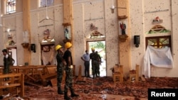 Suasana Gereja Katolik Santo Sebastian di Negombo, Sri Lanka, 22 April 2019. Serangkaian ledakan bom menghantam beberapa gereja dan hotel-hotel mewah pada minggu Paskah (21/4) di Sri Lanka.