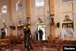 A view of the damage at St. Sebastian Catholic Church, after bomb blasts ripped through churches and luxury hotels on Easter, in Negombo, Sri Lanka April 22, 2019.