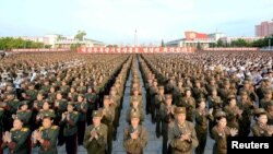 지난 13일 평양 김일성광장에서 북한 5차 핵실험을 축하하는 평양시군민경축대회가 열렸다고 조선중앙통신이 보도했다. (자료사진)
