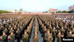 지난 9월 평양 김일성광장에서 북한 5차 핵실험을 축하하는 평양시군민경축대회가 열렸다고 조선중앙통신이 보도했다.