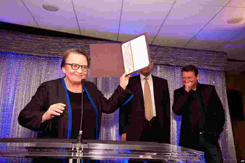"""Agnieszka Holland, """"In Darkness"""", accepts her certificate of nomination for the 84th Academy Awards from at a Foreign Language Film Award reception held in the Grand Lobby of the Samuel Goldwyn Theater in Beverly Hills, CA on Friday February 24, 2012. (P"""