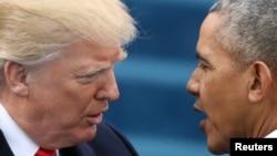 Prezida wa Reta Zunze Ubumwe za Amerika Donald Trump na Prezida Barack Obama