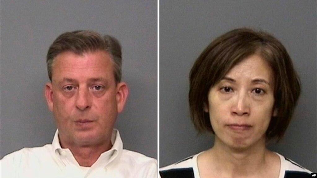 由雷丁警察局提供的預照片組合顯示,加州雷丁的IASCO飛行培訓負責人麥康基(左),以及IASCO飛行訓練助理餘珂。 當局說,他們因涉嫌綁架員並試圖將他送回中國而被捕。