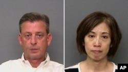 由雷丁警察局提供的预照片组合显示,加州雷丁的IASCO飞行培训负责人麦康基(左),以及IASCO飞行训练助理余珂。当局说,他们因涉嫌绑架员并试图将他送回中国而被捕。