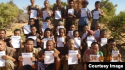 FILE - A photo of the 26 sailors who were released Saturday by Somali pirates. The photo was taken on Aug. 14, 2016. They were held hostage during a ship hijacking nearly five years ago.