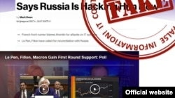 FILE - A screenshot from the Russian Foreign Ministry website (mid.ru) shows a sample of what Moscow considers fake news.