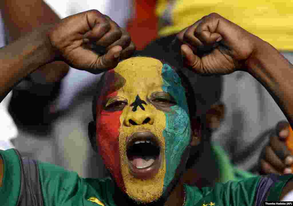 Penonton dari Senegal dalam pertandingan antara tim negaranya dan Ghana di Guinea Ekuatorial (19/1). (AP/Themba Hadebe)