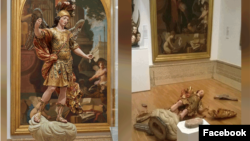 مجسمه «سینت مایکل» در موزه ملی هنرهای باستانی لیسبون (قبل و بعد حادثه)