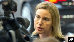 歐盟各國外長星期一在盧森堡開會﹐圖為歐盟其中之一代表。