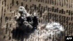 2015年10月15日,俄罗斯空军对据信是叙利亚境内的伊斯兰国的一个目标进行空袭。美国国防部网站的资料照片。
