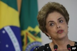 FILE - Brazil's President Dilma Rousseff speaks during a meeting at the Planalto Presidential Palace, in Brasilia, Brazil, Wednesday, April 13, 2016.