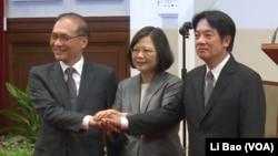 台灣總統蔡英文任命賴清德(右)為台灣行政院長。(2017年9月5日)